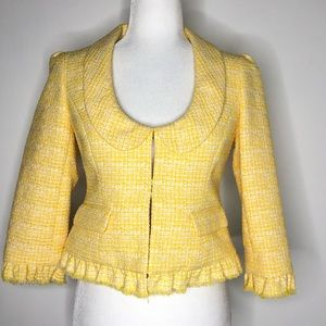 Ann Taylor LOFT Yellow Tweed Blazer Jacket, size 0
